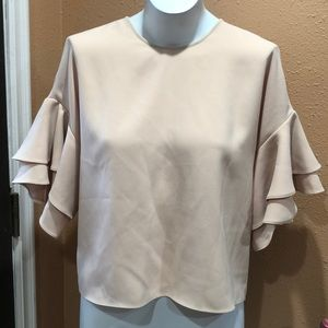 Zara beige short sleeve ruffled top